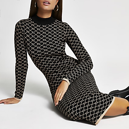 Black RI monogram print midi dress