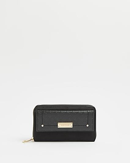 Black RI monogram print purse