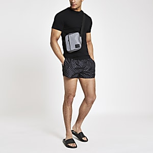Black RI monogram print swim shorts