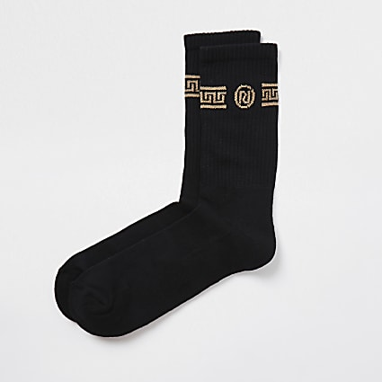 Black RI monogram print tube socks