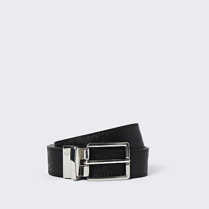 Black RI monogram reversible belt