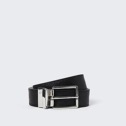 Black RI monogram reversible belt