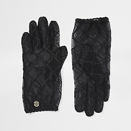 Black RI monogram sheer gloves