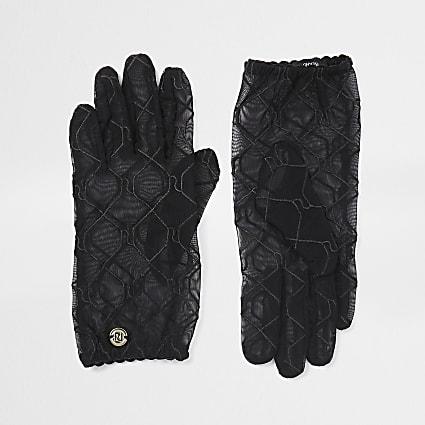 Black RI monogram sheer gloves