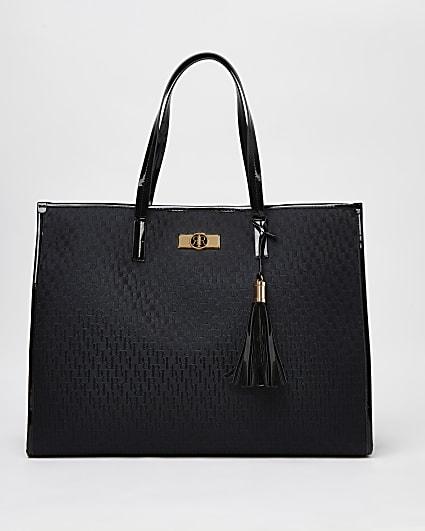Black RI monogram shopper bag