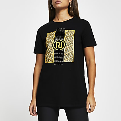 Black RI monogram short sleeve t-shirt