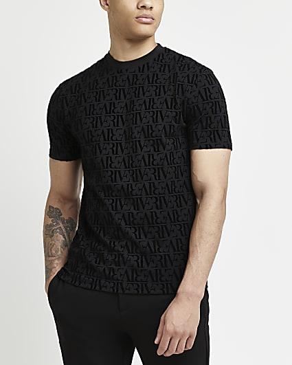 Black RI monogram slim fit flock t-shirt