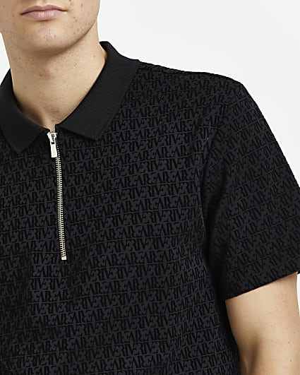 Black RI monogram slim fit flocked polo shirt