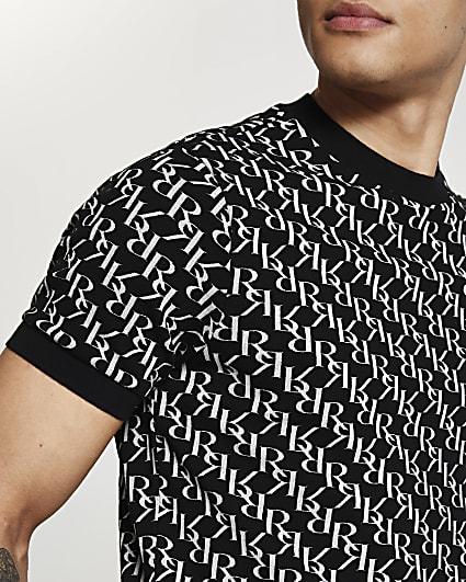 Black RI monogram slim fit t-shirt
