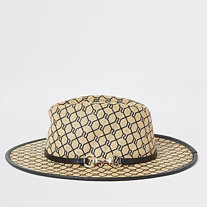 Black RI monogram snaffle Fedora hat