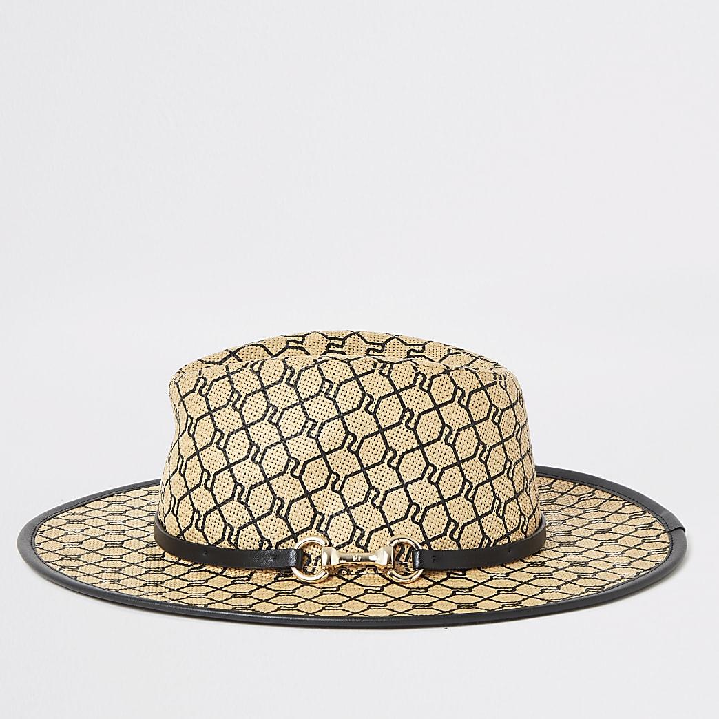 Fedora-Hut mit schwarzem RI-Muster und Spange