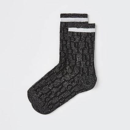 Black RI monogram stripe tube socks