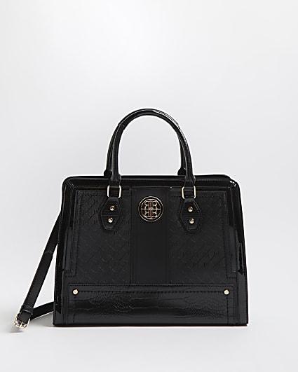 Black RI monogram tote bag