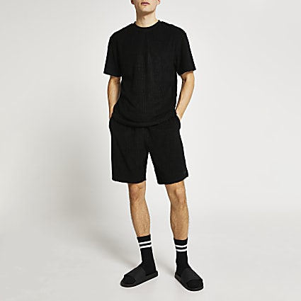 Black RI monogram towelling shorts