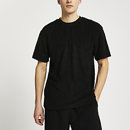 Black RI monogram towelling t-shirt