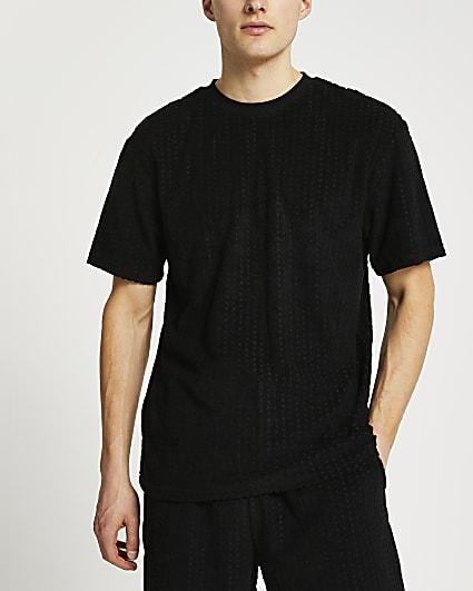 Black RI monogram towelling t-shirt