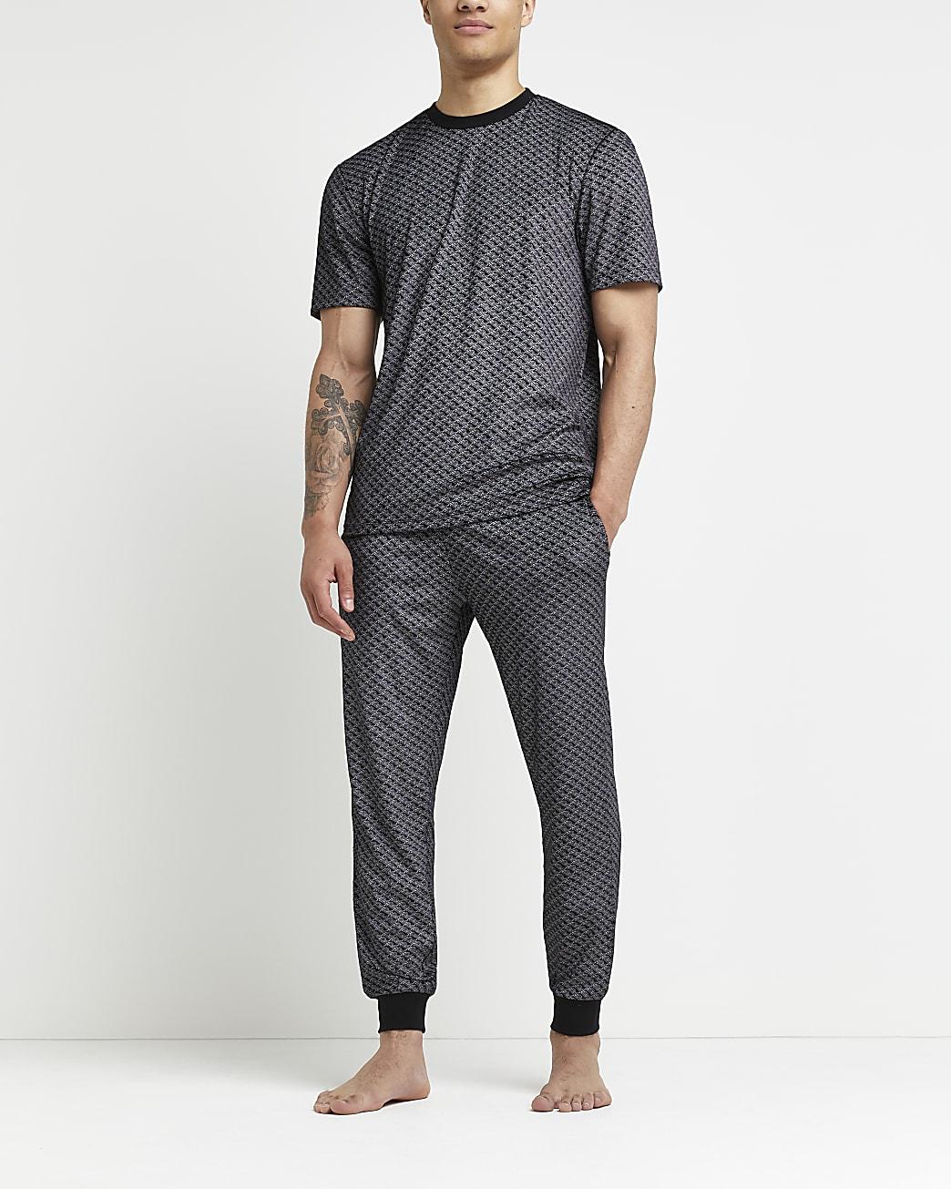 Black RI monogram velour loungewear set