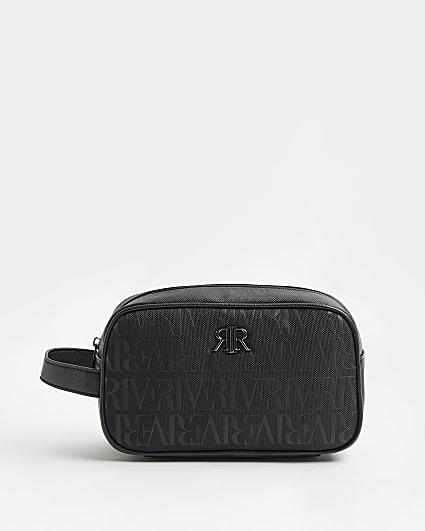 Black RI monogram wash bag