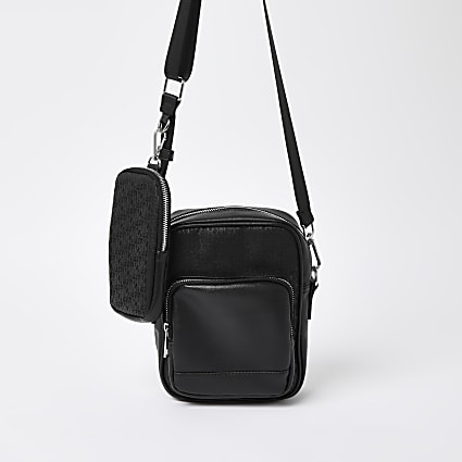 Black RI monogram X phone pouch cross body