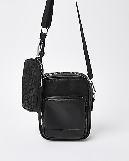 Black RI monogram X phone pouch cross body