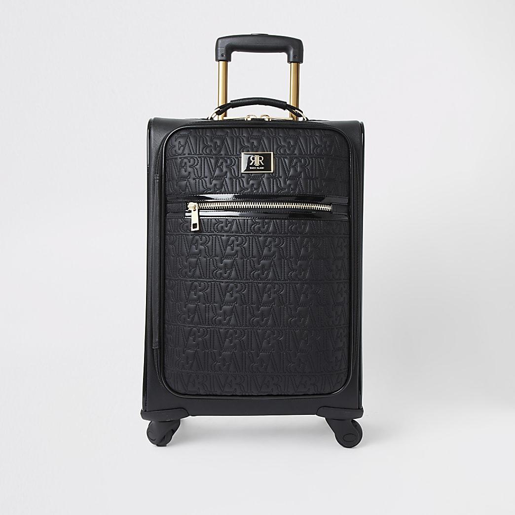 Valise noire avec logo RI zippée sur le devant