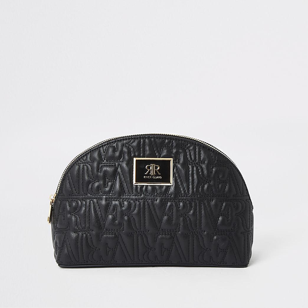Black RI monogram zip top makeup bag
