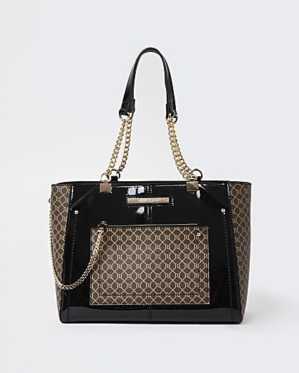 Black RI monogram zip tote bag