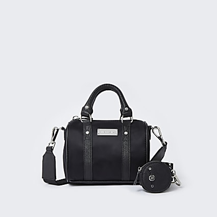 Black RI nylon mini bowler crossbody bag