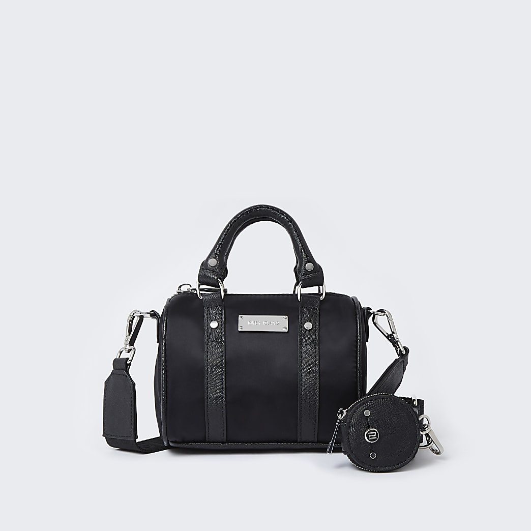 Black RI nylon mini bowler crossbody bag