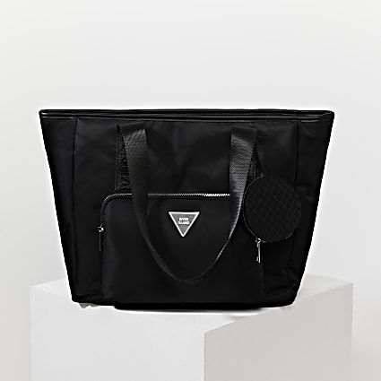 Black RI nylon shopper bag with mini pouch