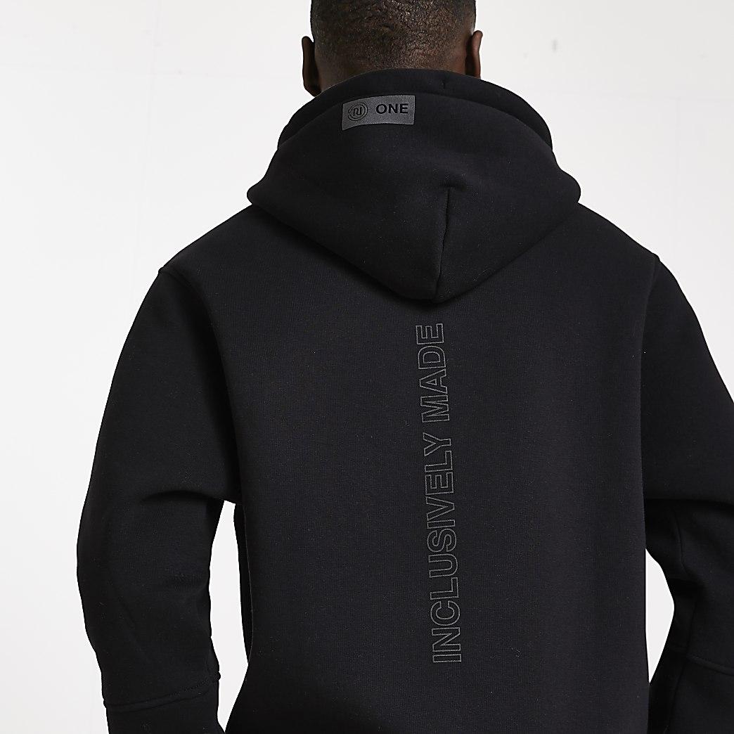 Black RI ONE signature hoodie