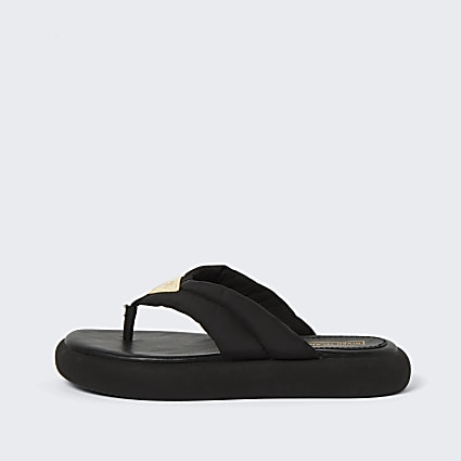 Black RI padded nylon toe thong sandals