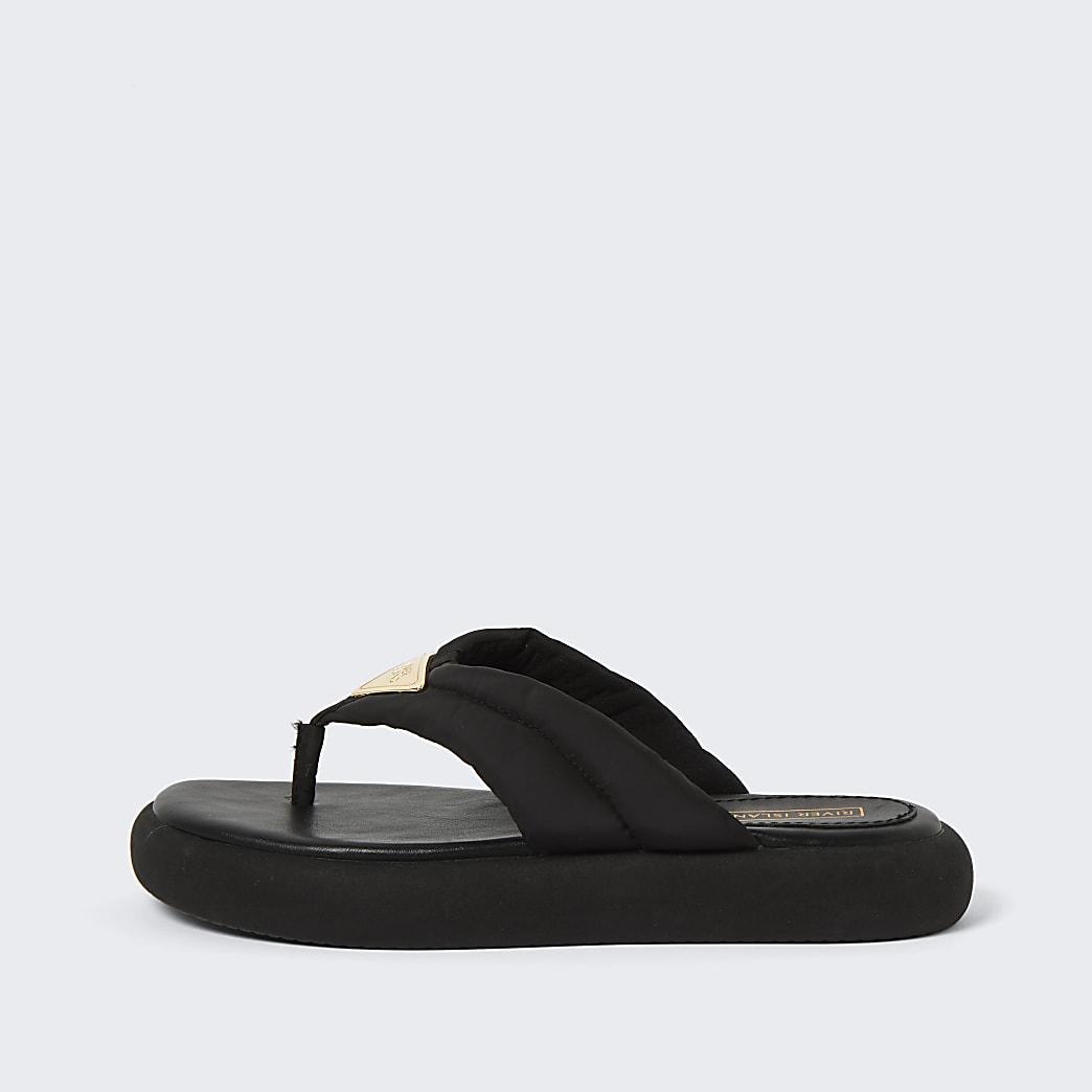 Black RI padded nylon toe thong sandals