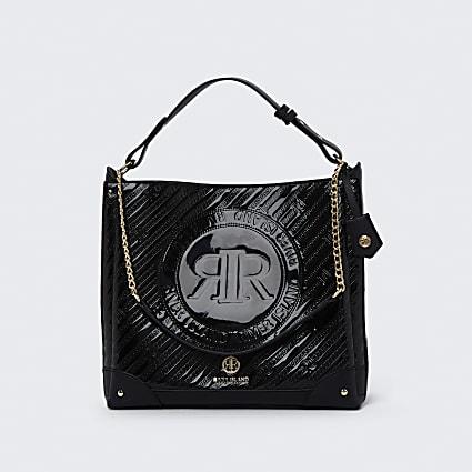 Black RI patent embossed slouch bag