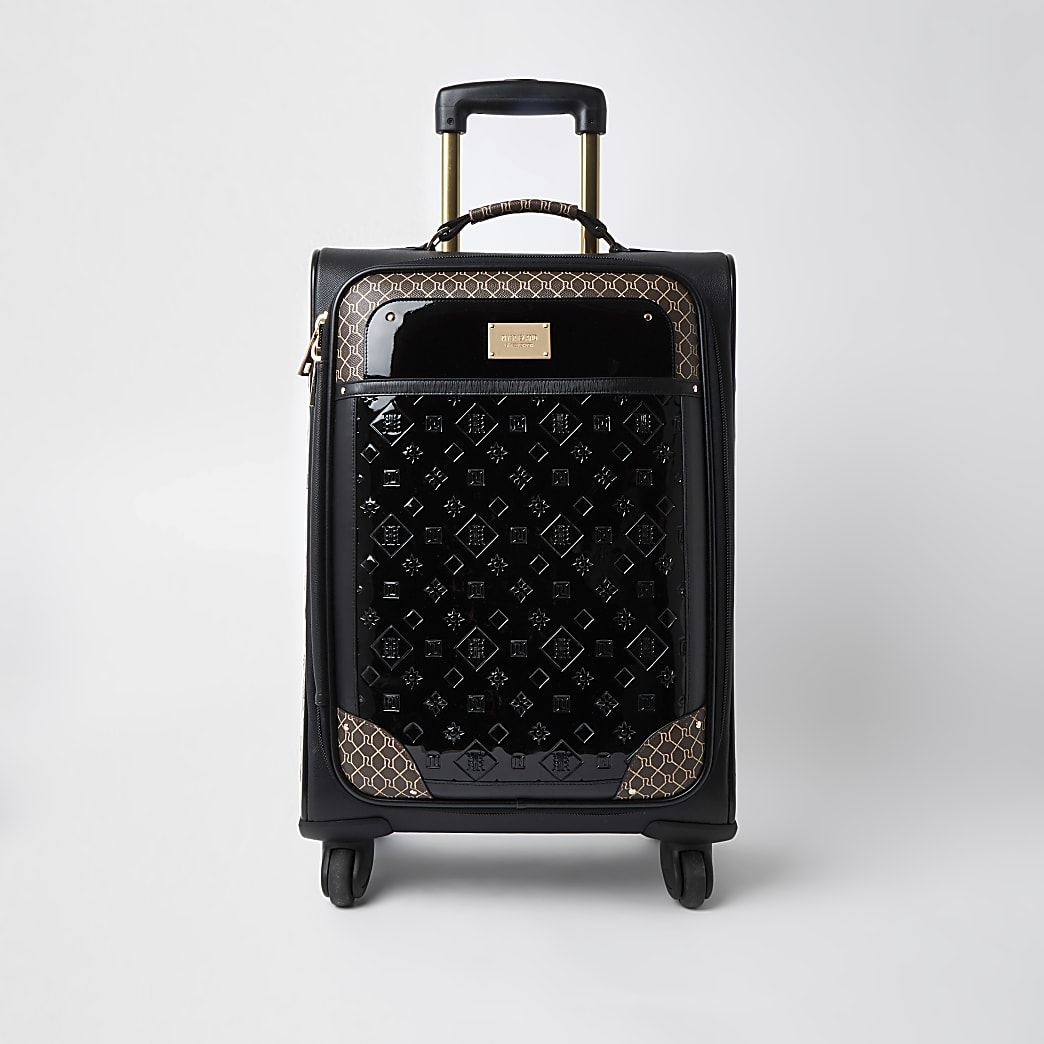 Black RI patent monogram suitcase