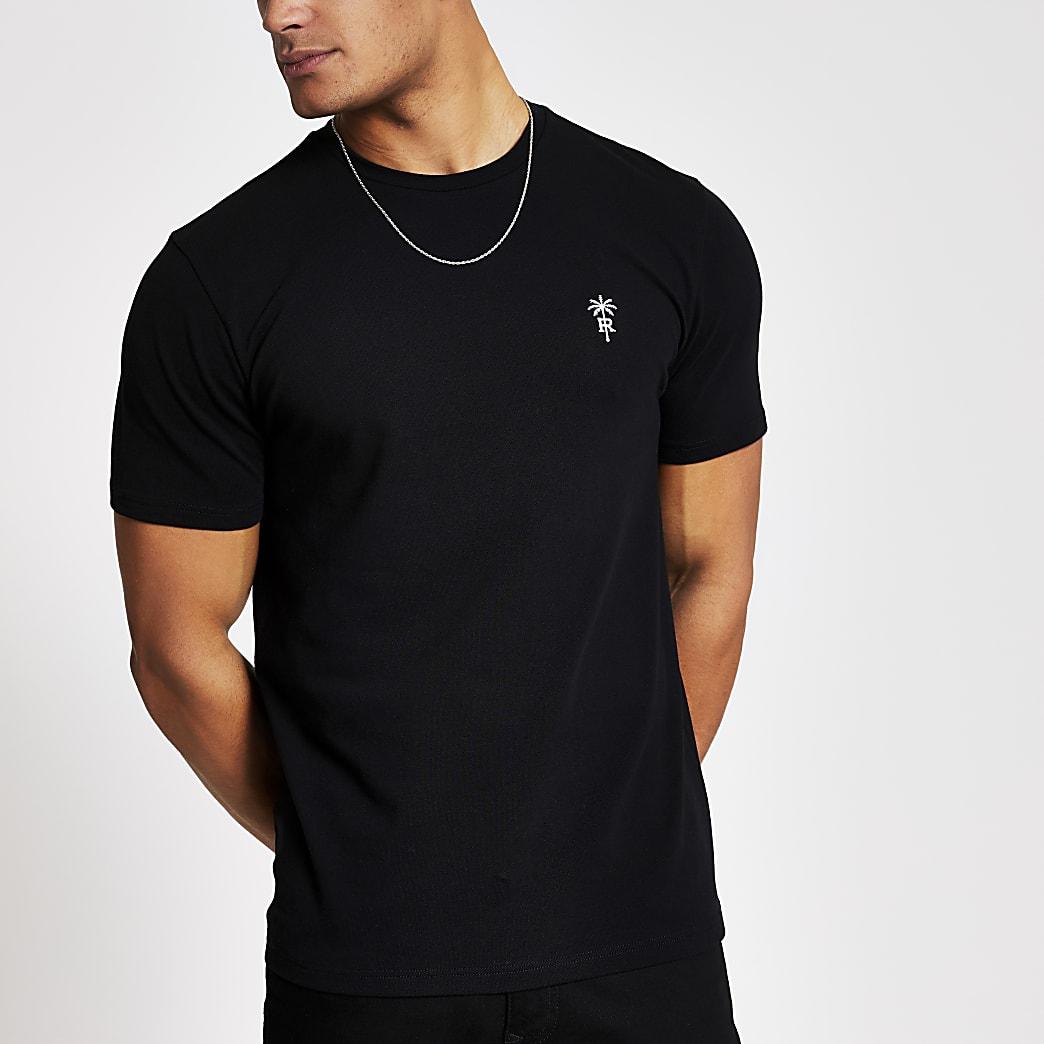 Schwarzes RI-Pikee-T-Shirt im Slim Fit