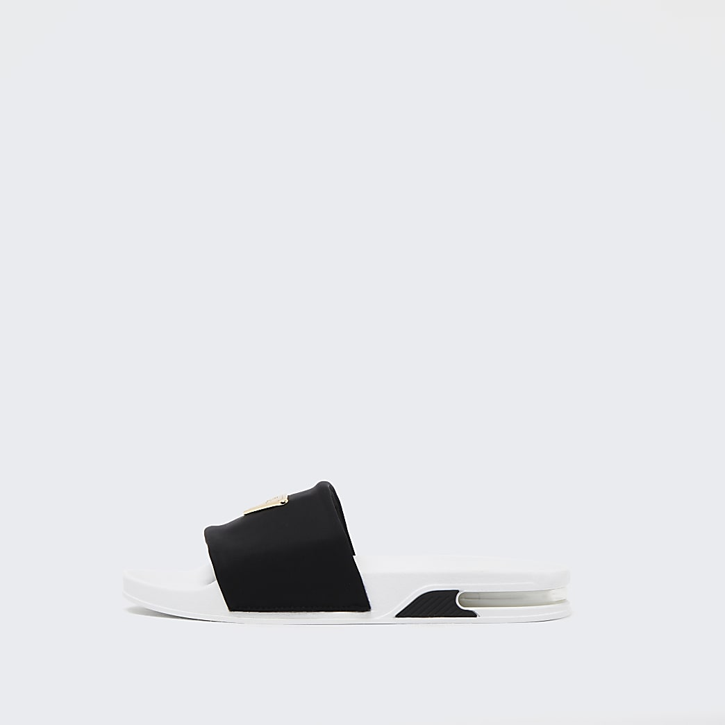 Black RI plated bubble sole sliders