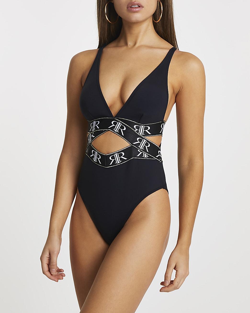 Black RI print elastic wrap swimsuit