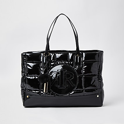 Black RI puffa shopper bag