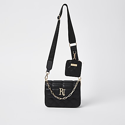 Black RI quilted cross body bag and pochette