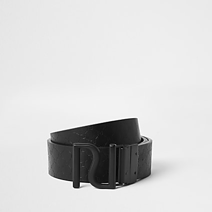 Black RI reversible monogram belt