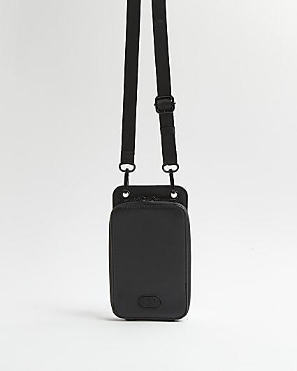 Black RI rubberised phone case lanyard