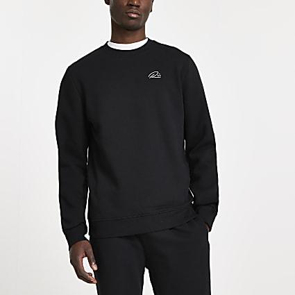 Black RI script embellished sweatshirt