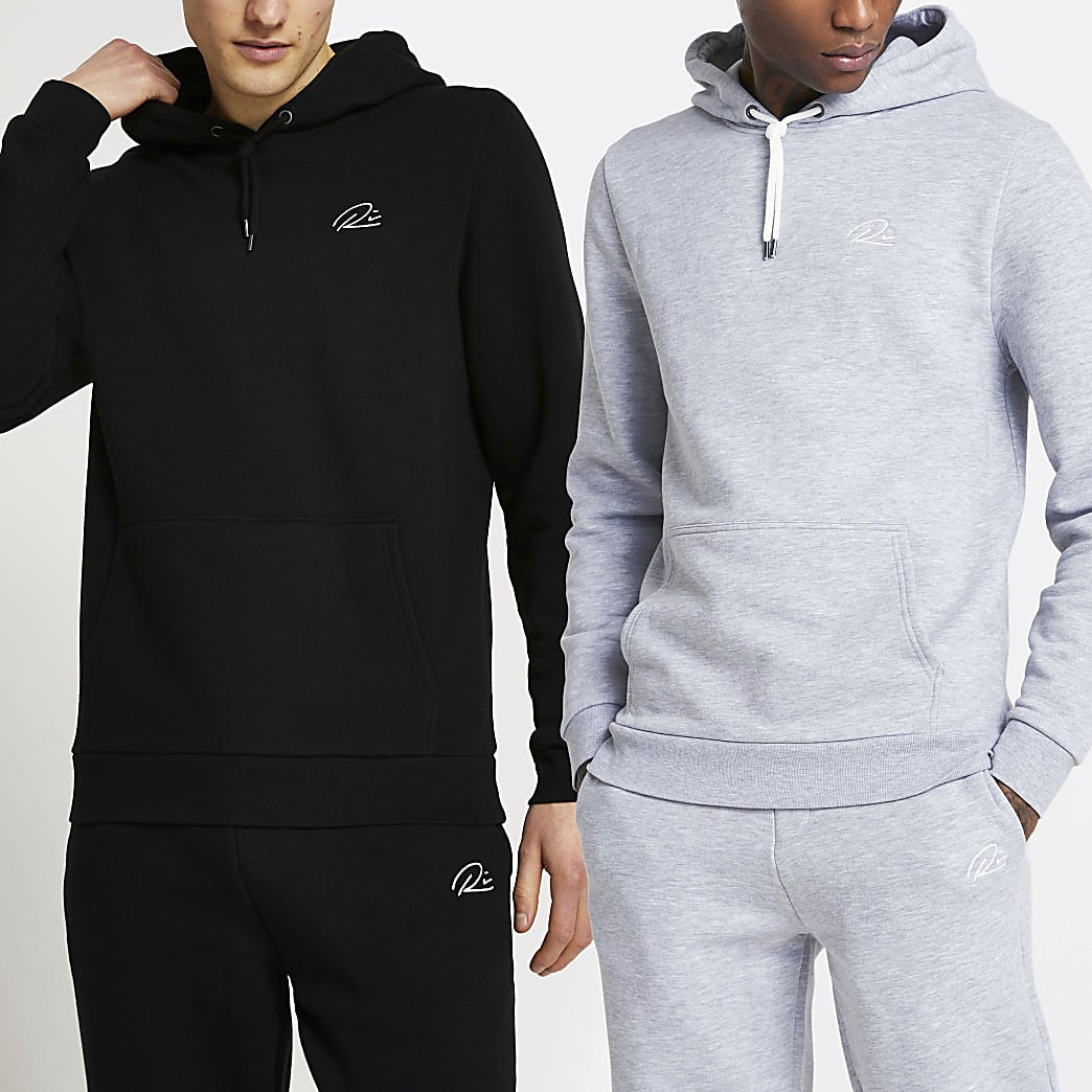 Black RI slim fit hoodie 2 pack