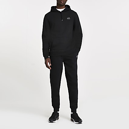 Black RI slim fit hoodie and jogger outfit
