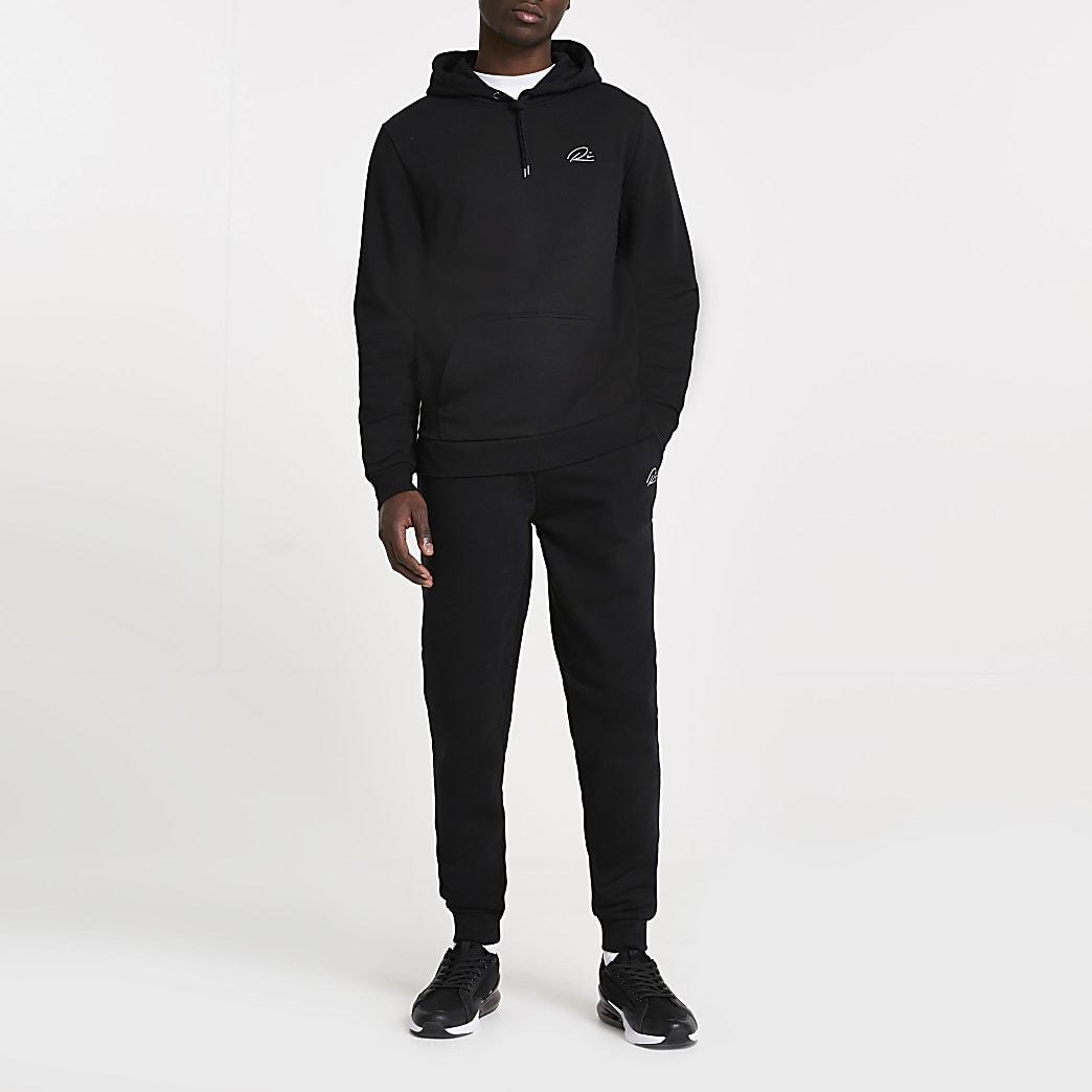Black RI slim fit hoodie and joggers set