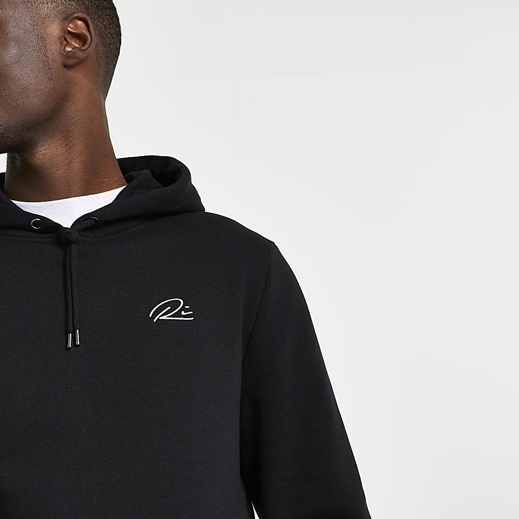 Black RI slim fit hoodie