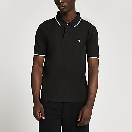 Black RI slim fit short sleeve polo shirt