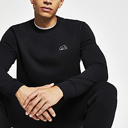 Black RI slim fit sweatshirt