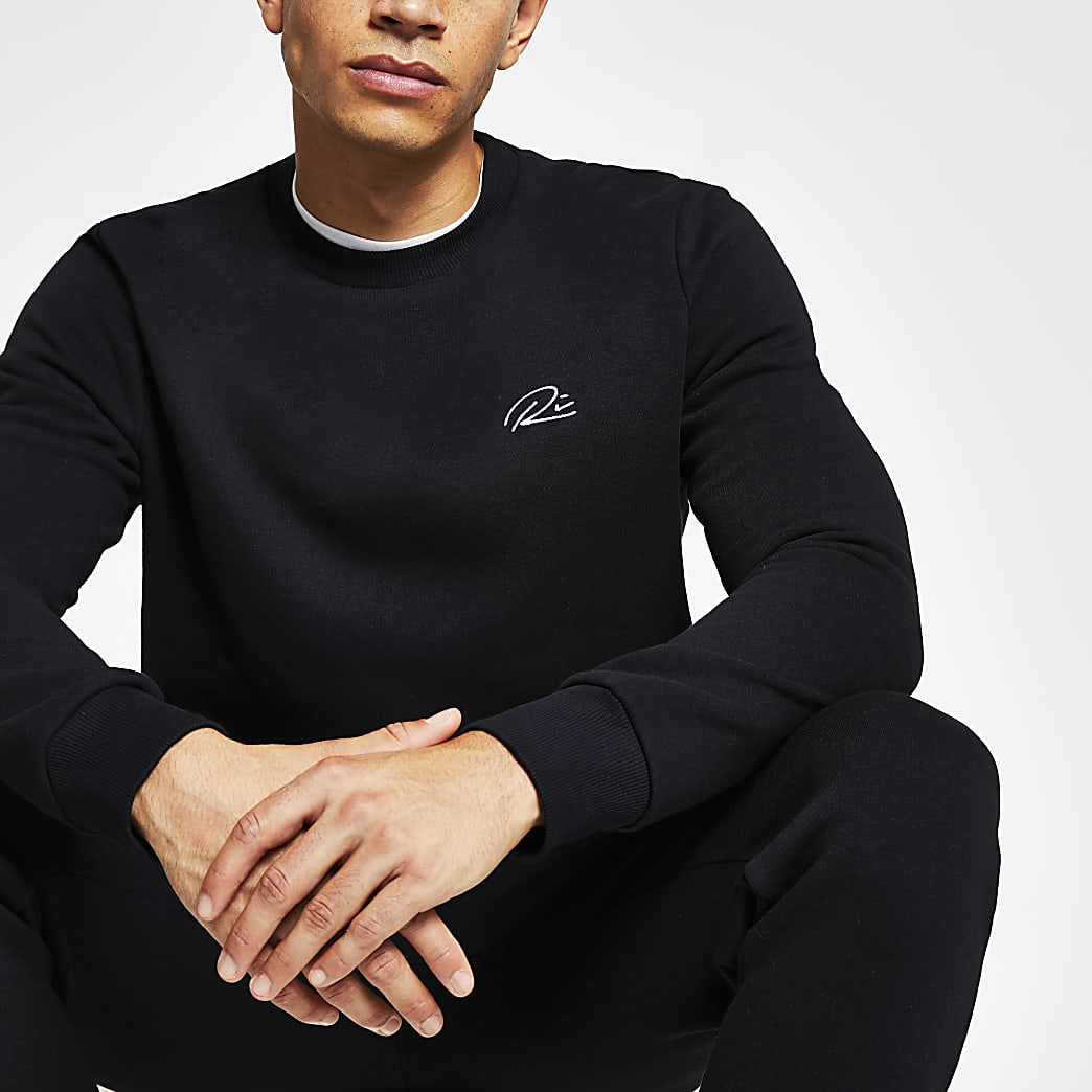 Black RI slim fit sweatshirt